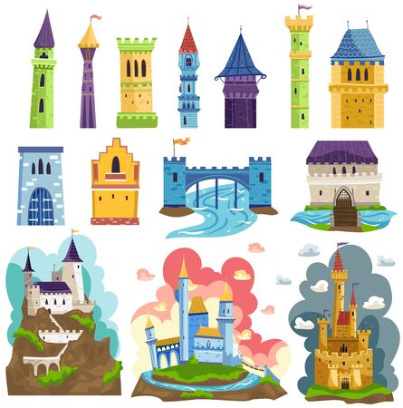 Castles towers and fortresses architecture vector illustrations cartoon set, fairy medieval palaces with towers, walls and flags.