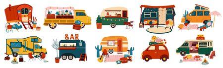 Vans and trailers vehicles set of travel caravans for camper, vintage summer trucks transport for tourism vector illustrations.