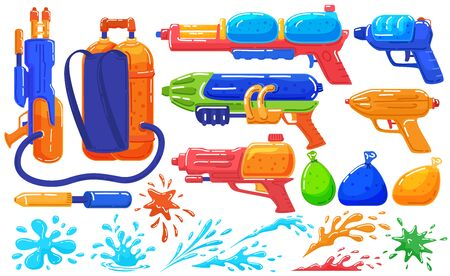 Toy water guns to play, fun pistol and baloons, game spray isolated on white set of cartoon vector illustration.
