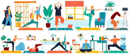 Yoga sport exercises for man, woman, pregnant and eldery set of vector illustration of people doing yoga meditation and fitness.
