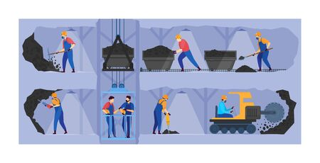 People work in mine industry vector illustration, cartoon flat miner characters working in underground tunnels, mining business background
