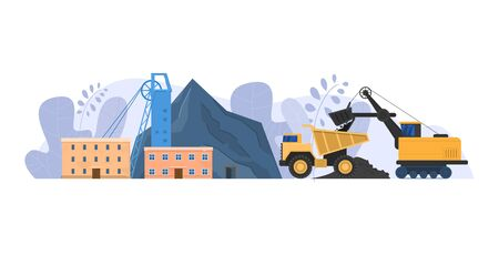 Mine industry vector illustration, cartoon flat urban landscape with mining factory building for coal extraction isolated on white Vectores
