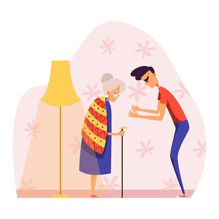 Menschen in Streit-Vektor-Illustration, Cartoon flach aggressiver junger Mann Charakter streiten, schreien ältere Frau isoliert auf weiß
