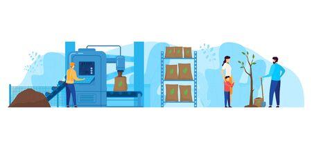 Illustration vectorielle d'usine de traitement des déchets, personnages de dessin animé plat travailleur travaillant sur l'équipement de la station d'emballage isolé sur blanc Vecteurs