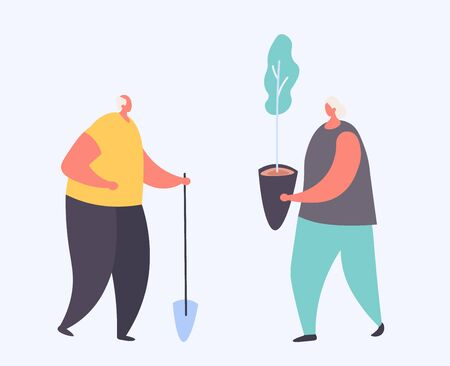 Cartoon old people plant a trees, grandfather with shovel and grandmather with seedling in a pot for their garden isolated on white vector, illustration. Old pensioner couple gardening hobby working outdoors. Pensioners active lifestyle Stock Illustratie