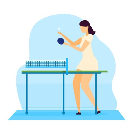 Sportsman vector illustration, cartoon flat young woman character playing table tennis with racket isolated on white