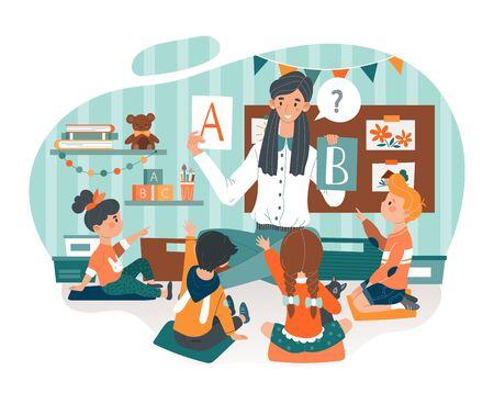 Kindergarten vector illustration, cartoon flat kindergarten teacher woman character teaching children alphabet icon isolated on white