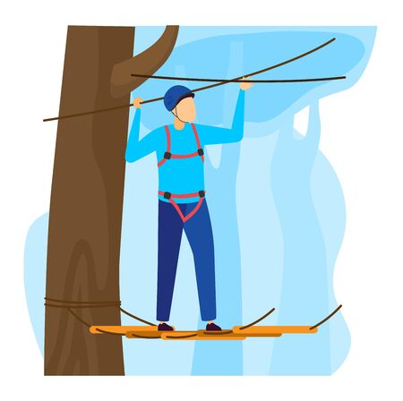 Sportsman vector illustration, cartoon flat man climber character climbing rope ladders with protective equipment isolated on white Ilustração