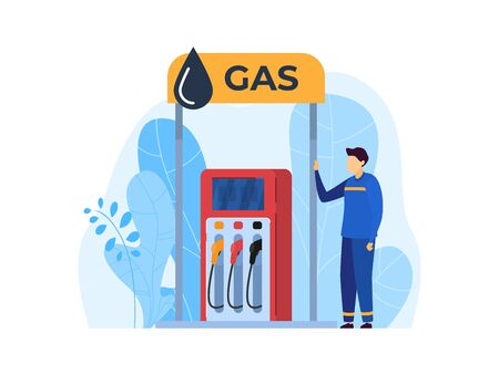 People work in gas station vector illustration, cartoon flat worker character working for filling up fuel into car icon isolated on white Illustration