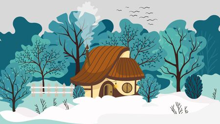 Cozy house in winter landscape, cute cottage in park, vector illustration. Countryside home, forest cabin surrounded by trees. Small cozy cottage, winter nature outdoor, cute house in cartoon style