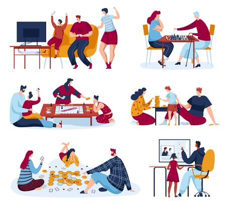 Family people play board games vector illustrations, cartoon flat mother, father and kids player characters playing chess or gaming strategy Ilustración de vector