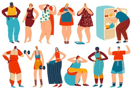 Weight loss vector illustration, cartoon overweight obese woman man character losing fat after diet and fitness sport exercises flat set