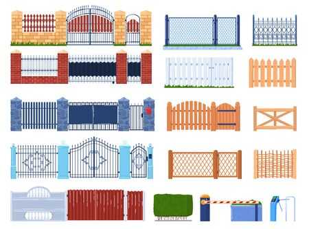 Gate and fence vector illustration set, cartoon flat wooden or stone brick structures collection for fenced garden houses and farm, gatepost