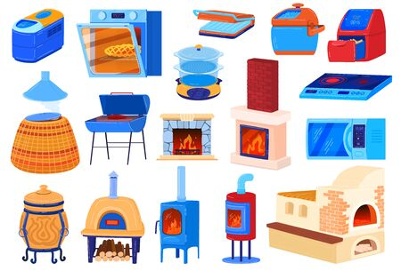 Oven stove vector illustrations, cartoon flat set for cook food in kitchen with electric or gas hob stove, old iron wood burning stove Ilustração