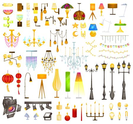 Lighting devices lamp fixtures vector illustration, cartoon flat element interior collection with modern electric lamp or vintage chandelier Banque d'images - 149193711