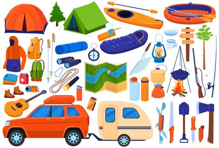 Tourism camp equipment vector illustration set. Cartoon flat travel expedition collection for family tourists hiking, camping or picnic campfire in forest, tent, backpack compass map isolated on white Vectores