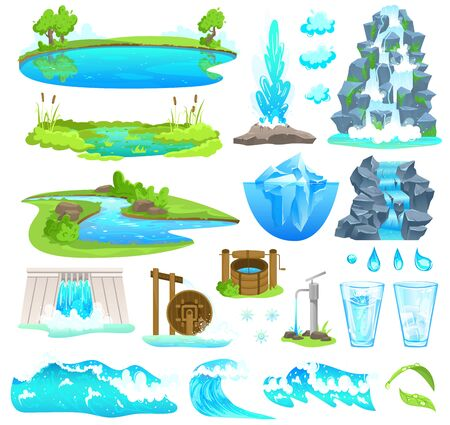 Natural water landscape vector illustration, cartoon flat nature set of flowing river stream, waterfall on mountain, waterfront of lake