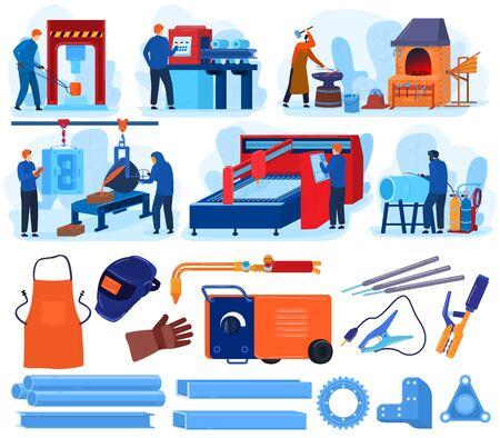 Welding metal work vector illustrations. Cartoon flat set with blacksmith metalworking tool equipment, welder worker people forging, working on anvil foundry, iron or steel industry isolated on white Ilustração