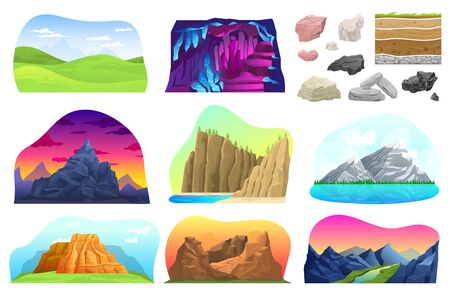 Mountain hill landscape vector illustration set, cartoon flat collection with rocky natural mountainous peak with snow, barrow, rock volcano Vectores