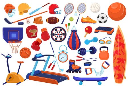 Sport equipment vector illustration icon set. Cartoon flat sportsman collection with ball racket for soccer baseball, football game and tennis, fitness gym sport tool, roller skates isolated on white