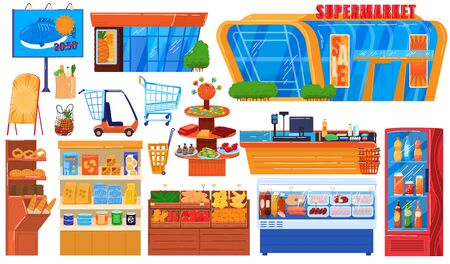 Supermarket grocery store vector illustration set. Cartoon flat hypermarket collection of storefront building, shop shelf and freezer, fresh drink fridge, food cart trolley or basket isolated on white