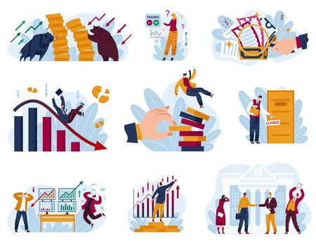 Stock market concept vector illustration set. Cartoon flat collection with trader businessman works in financial business data analysis research, bear and bull trade markets metaphor isolated on white
