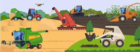 Agricultural machinery in field, harvest vehicle equipment and rural transport, vector illustration.
