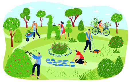 People gardening in park, men and women planting greenery and cutting bushes, vector illustration