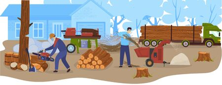 Logging wood industry, timbers, lumber truck with loggs vector illustration. Wood production and forestry. Trees, forest logging, industrial carpentry, firewood transportation and sawmill. Illustration