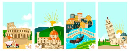 Italian towns travel banners set, tourism on vacation vector illustration of italians city famous landmarks. Rome, Venice and Pisa, Florence architecture and culture sightseeings. Tours to Italy. Illustration