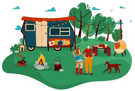 People travel in trailer vector illustration, cartoon flat man woman couple traveler characters standing in tourist camp with campfire Vectores