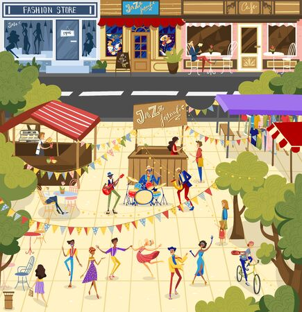 People on jazz festival vector illustration, cartoon flat man woman dancer character dancing, performer musician band playing jazz music