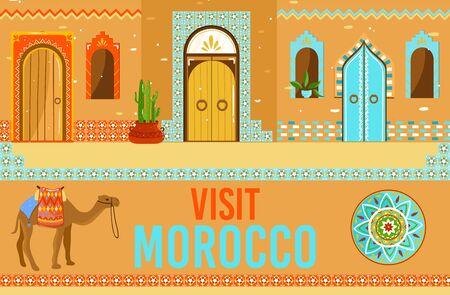 Visit Morocco vector illustration, cartoon flat Moroccan traveling landmark, arab house entrance with window door, camel travel banner Vecteurs