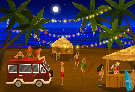People in beach night party vector illustration, cartoon flat happy man woman characters dancing on fun dance beach event background Çizim