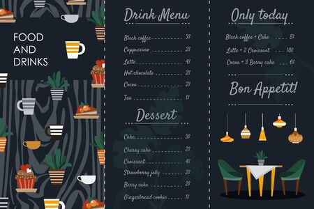 Cafe menu brochure flyer vector illustration, cartoon flat design template of hot drink and food coffeehouse presentation menu