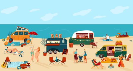 People travel in trailer vector illustration. Cartoon flat happy man woman traveler camper characters have fun on camping beach festival with many tourist campervan car trailers, summer background Vectores