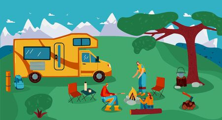People travel in trailer vector illustration. Cartoon flat man woman friend traveler characters cooking picnic food on campfire in tourist caravan camp near campervan car trailer, summer background