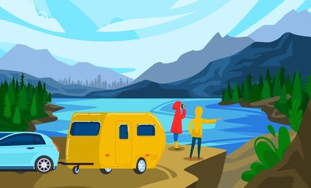 People travel in trailer vector illustration. Cartoon flat man woman couple camper traveler characters standing next to campervan car trailer on river summer landscape, weekend adventure background