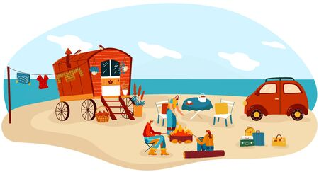 People travel in trailer vector illustration. Cartoon flat happy man woman camper traveler characters cook picnic food on beach campfire in retro caravan camp, campervan car trailer isolated on white Vectores