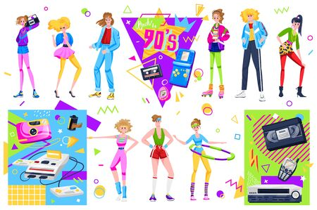 Retro disco people vector illustration set, cartoon flat woman man dancer characters dancing in fashion clothes and hairstyles in 90s Stock fotó - 149417120