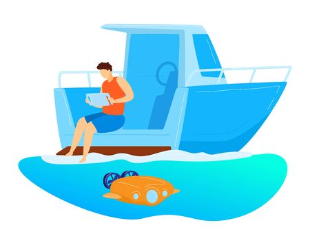 Male sitting yacht, remote control underwater drone, character male research ocean bottom isolated on white, cartoon vector illustration.