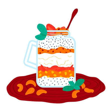 Strawberry tangerine cream milkshake, healthy smoothies cocktail isolated on white, cartoon vector illustration. Foodstuff fruit puree.