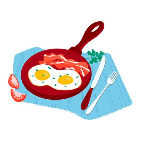 Morning traditional breakfast foodstuff, meal tomato, herb and griddle eggs bacon concept food isolated on white, cartoon vector illustration. Illustration