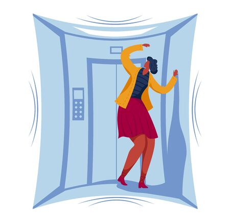 Female character phobia of closed space, woman stuck small elevator area isolated on white, cartoon vector illustration. Girl fear panic attack.