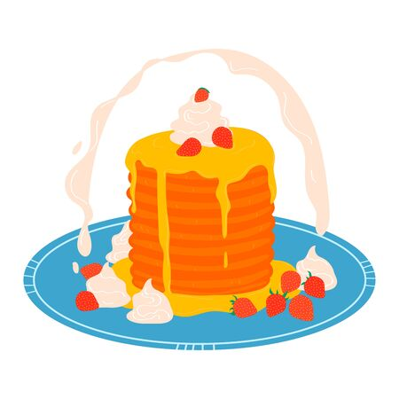 Pancake stack on plate, breakfast concept icon isolated on white, cartoon vector illustration. Appetizing sweet dessert pastry, fritter decorated honey cream and ripe strawberries.