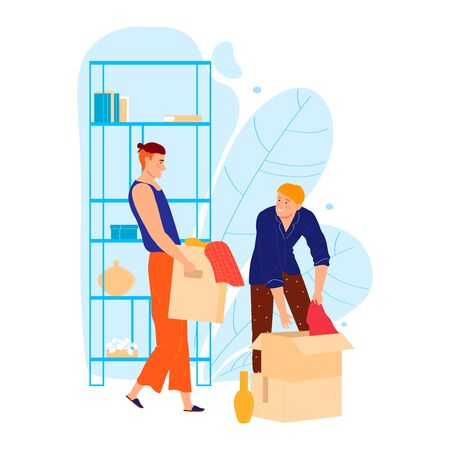 Male character help friend to house moving, man carry box personal stuff isolated on white, cartoon vector illustration. Assistance relocate belongings.