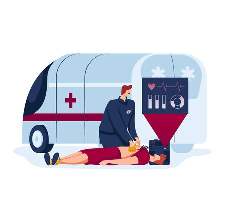 man doctor, future medicine, emergency first aid for patient, design in cartoon style vector illustration, isolated on white.