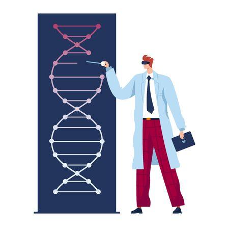 Man doctor, future medicine, genetic experiment, scientist in laboratory explores dna, flat vector illustration, isolated on white Ilustração