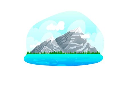 Alpine mountain range natural landscapes, wild area margin mountain clean water river and lake isolated on white, cartoon vector illustration. Concept earth location, mountainous valley for vacation. Vectores