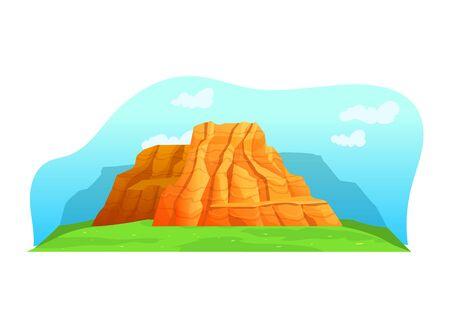 American mountain range natural landscapes, orange desert mountain margin isolated on white, cartoon vector illustration. Mountainous valley.